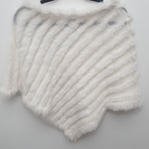 LORD & TAYLOR Fur Knit Poncho